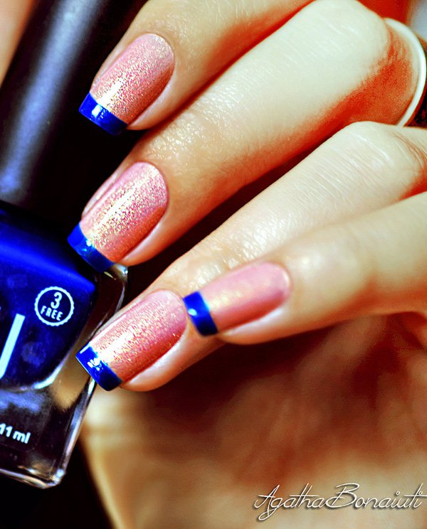 Blue and pink frech nail 20 Best and Beauty Nail Art Design Ideas