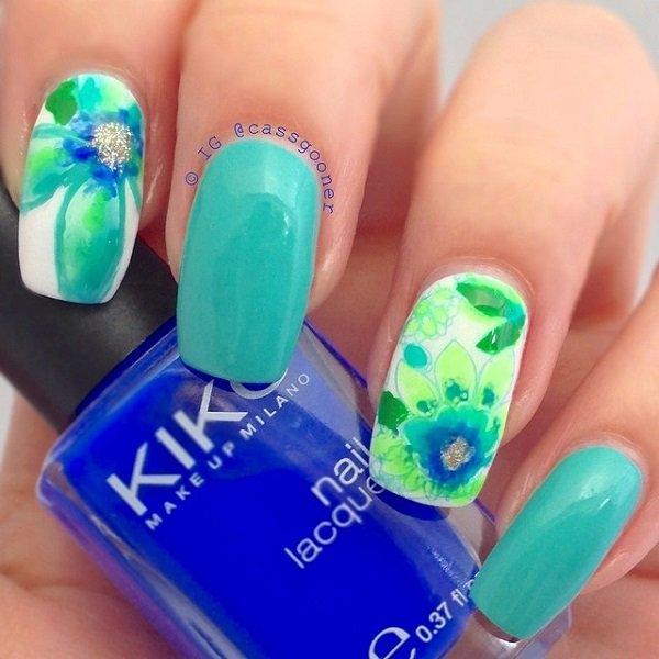 Blue green Watercolor Nail Art Ideas Pretty Watercolor Nail Art Ideas