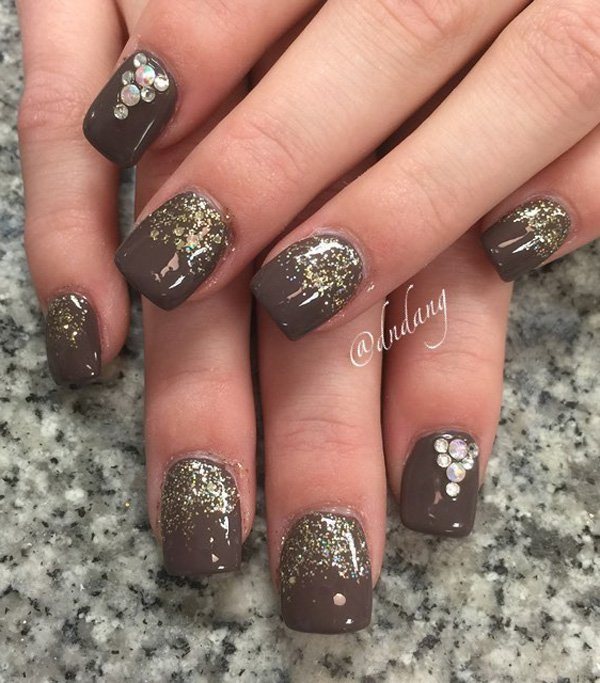 Brown and glitter nail art 20 Best and Beauty Nail Art Design Ideas