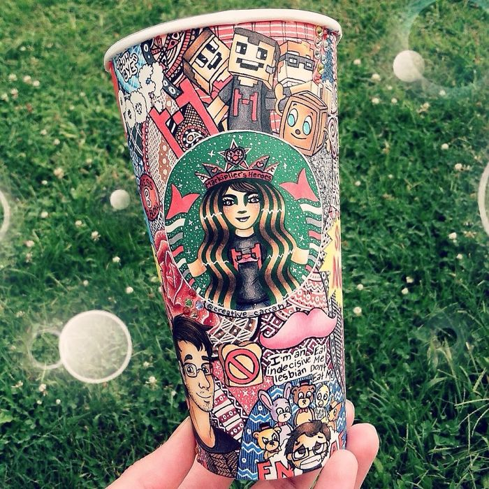 Creative Art Work Starbucks Cups Into Beauty Art Creative Art Work: Turn Starbucks Cups Into Beauty Art