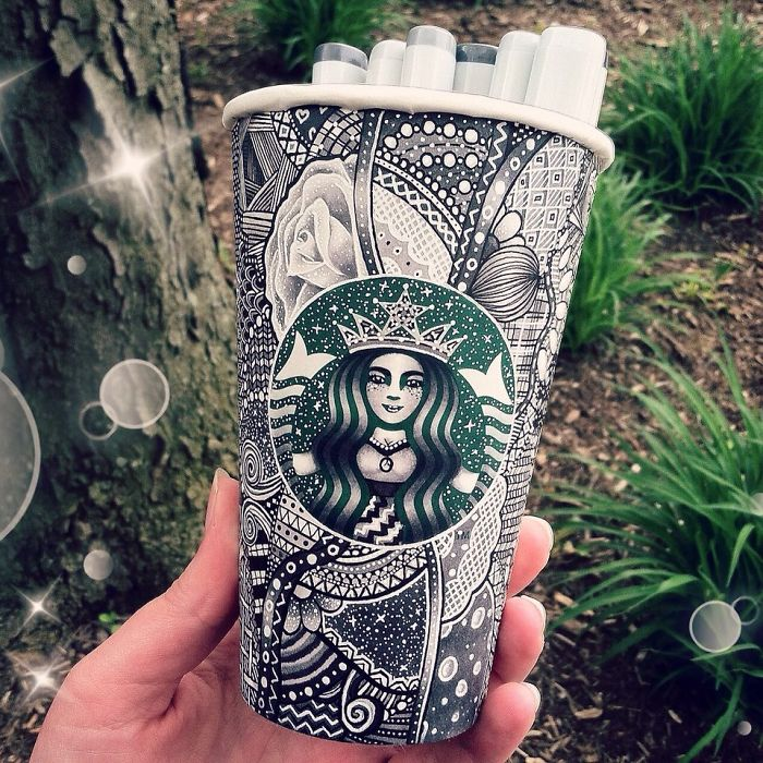 Creative Art Work Turn Starbucks Cups Into Beauty Art Creative Art Work: Turn Starbucks Cups Into Beauty Art