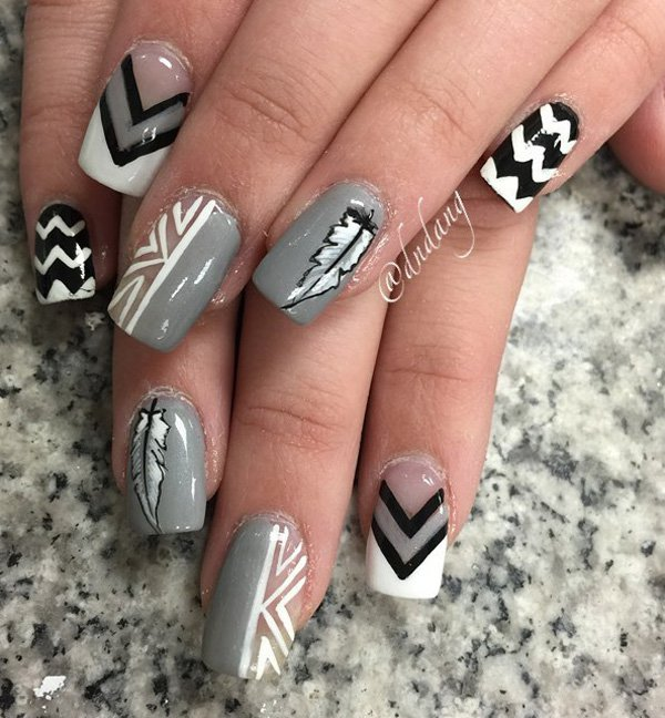 Gary and white feather nail art 20 Best and Beauty Nail Art Design Ideas