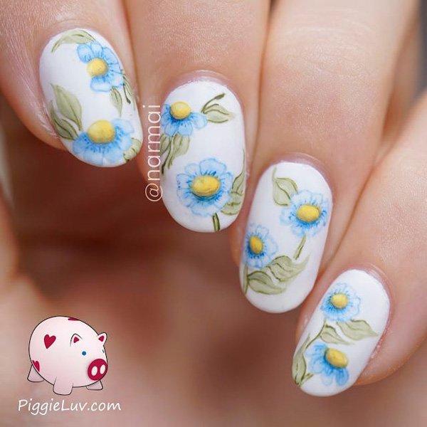 Pretty Watercolor flower Nail Art Ideas Pretty Watercolor Nail Art Ideas