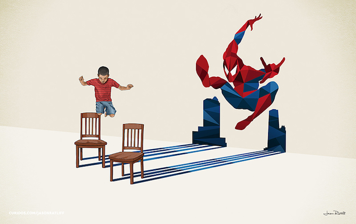 Spiderman Illustration of childhood imagination by Jason Ratliff Creative Illustration of childhood imagination by Jason Ratliff