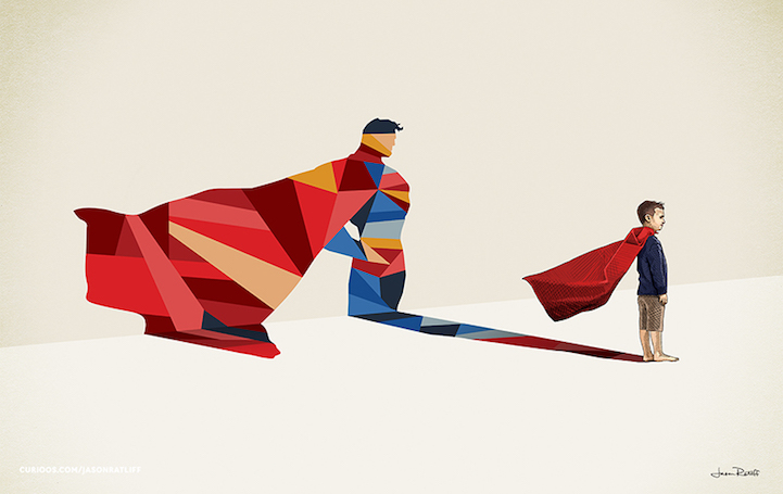 Superman Illustration of childhood imagination by Jason Ratliff Creative Illustration of childhood imagination by Jason Ratliff