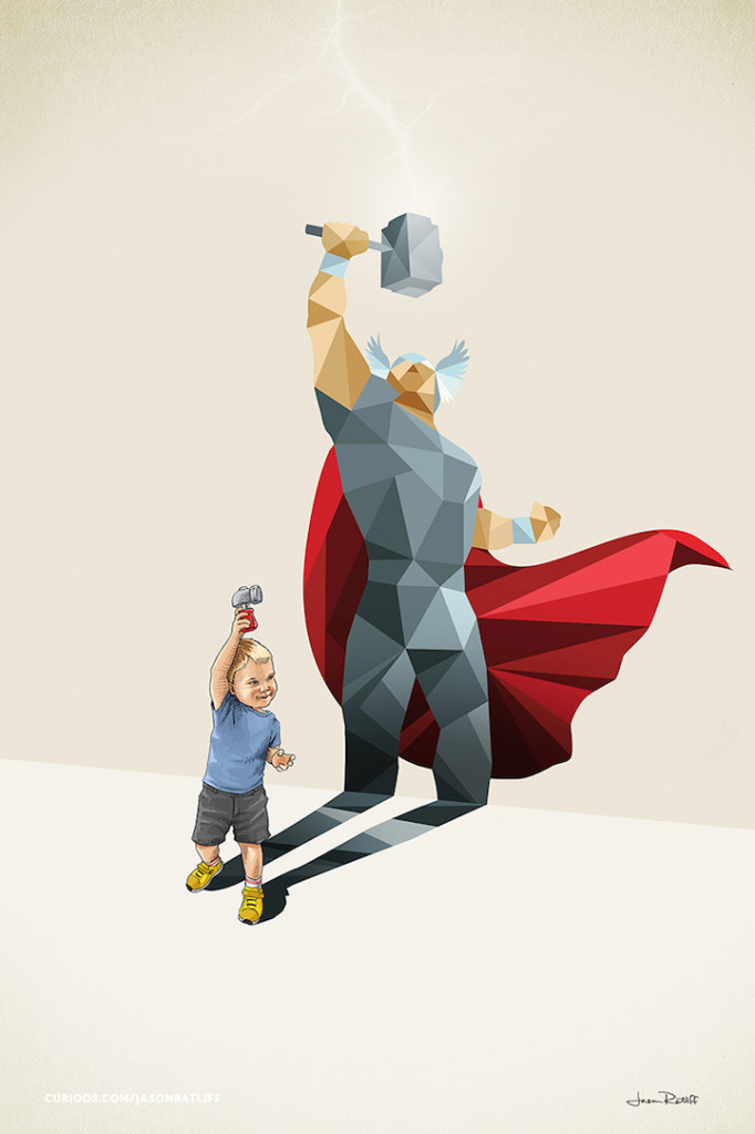 Thor Illustration of childhood imagination by Jason Ratliff 682x1024 Creative Illustration of childhood imagination by Jason Ratliff
