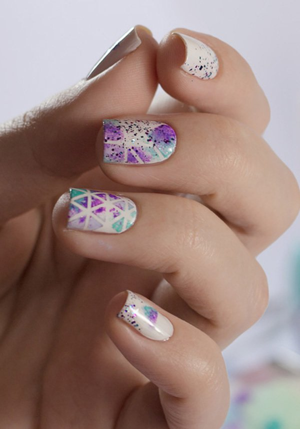 Violet and blue Watercolor Nail Art Ideas Pretty Watercolor Nail Art Ideas