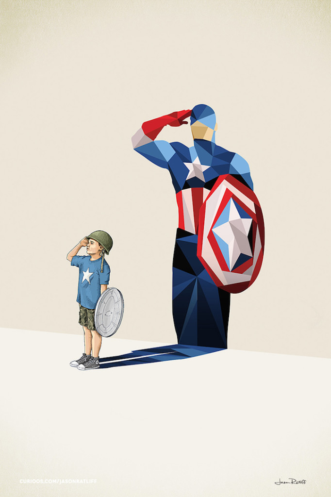 captain america childhood imagination by Jason Ratliff 682x1024 Creative Illustration of childhood imagination by Jason Ratliff