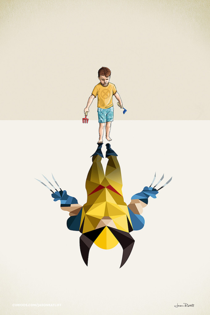 wolverine Illustration of childhood imagination by Jason Ratliff 682x1024 Creative Illustration of childhood imagination by Jason Ratliff