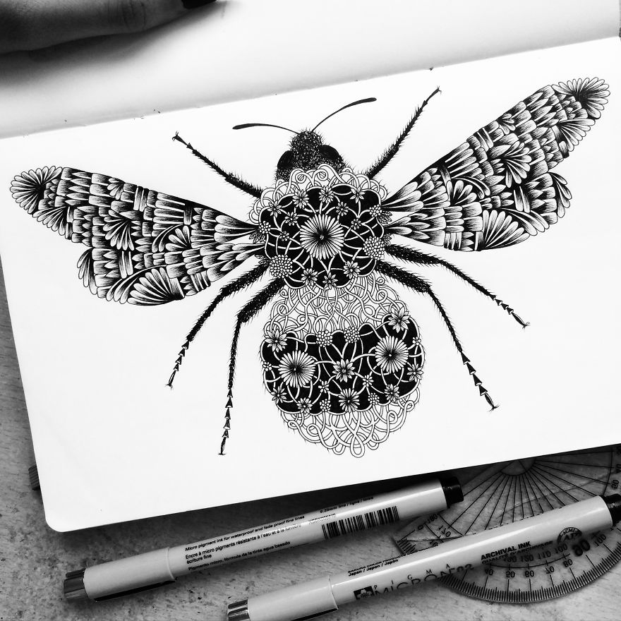 Amazing Detailed Drawing Art by Pavneet Sembhi Black and White Detailed Drawing Art by Pavneet Sembhi
