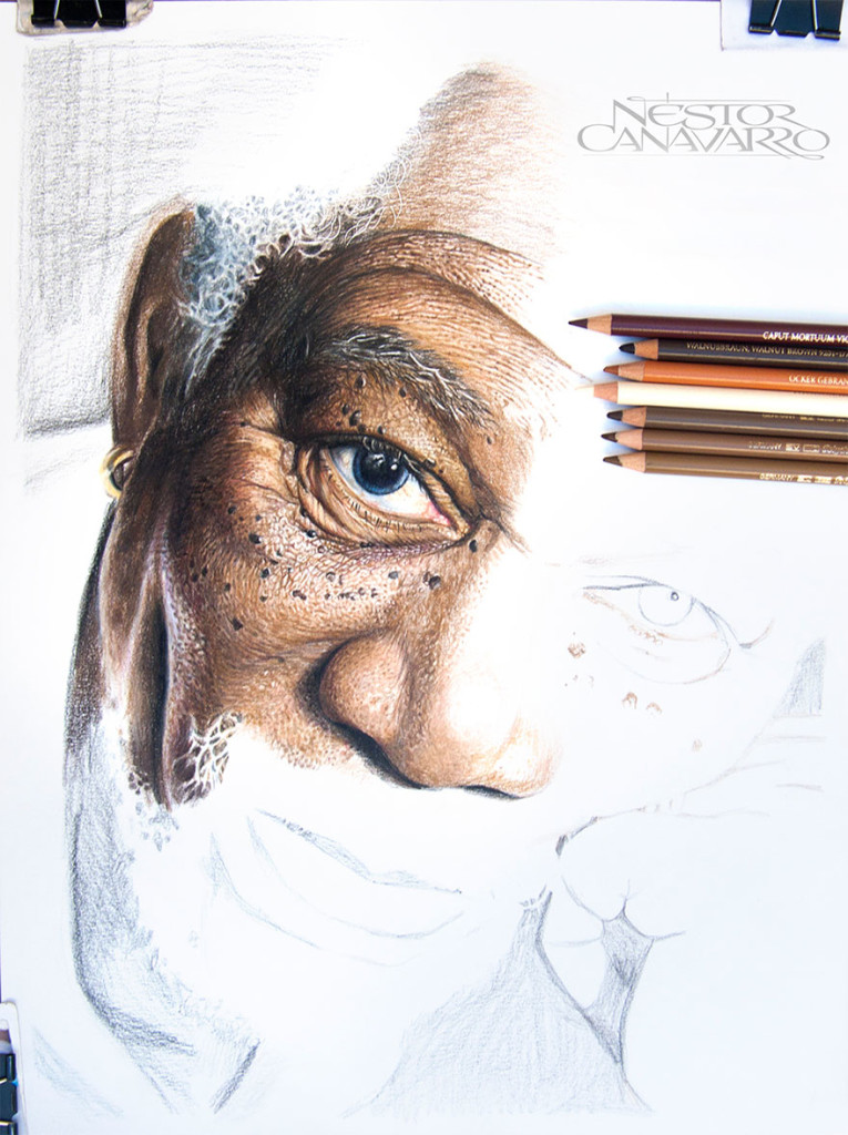 Amazing Detailed Drawing Color Pencils 765x1024 Super Detailed Drawing Of Morgan Freeman In Color Pencils