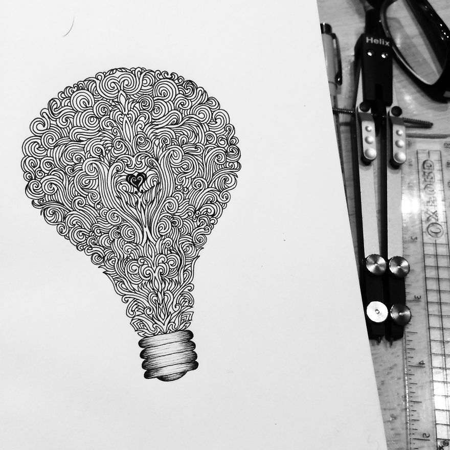 Detailed Drawing Art idea by Pavneet Sembhi Black and White Detailed Drawing Art by Pavneet Sembhi