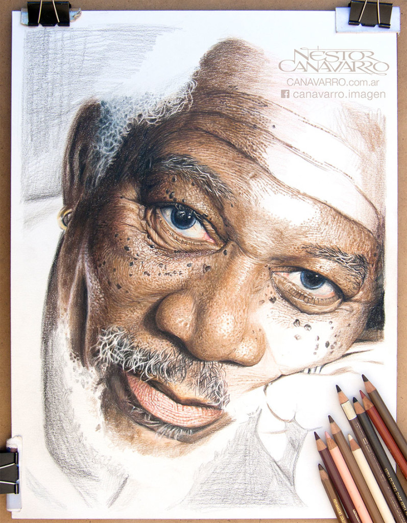 Extreme Detailed Drawing Color Pencils 797x1024 Super Detailed Drawing Of Morgan Freeman In Color Pencils