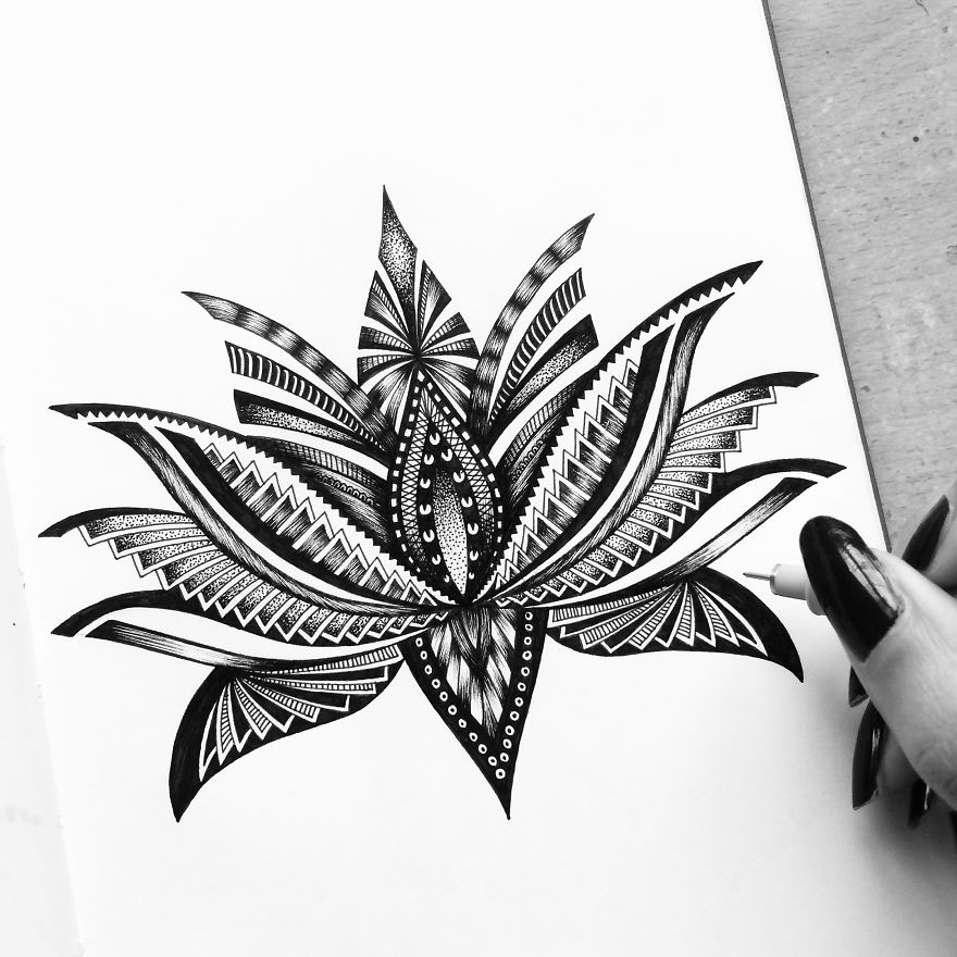 Flower Detailed Drawing Art by Pavneet Sembhi Black and White Detailed Drawing Art by Pavneet Sembhi