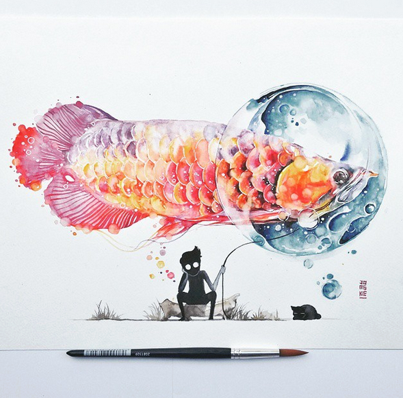 Gorgeous Watercolor Paintings by Luqman Reza Mulyono,