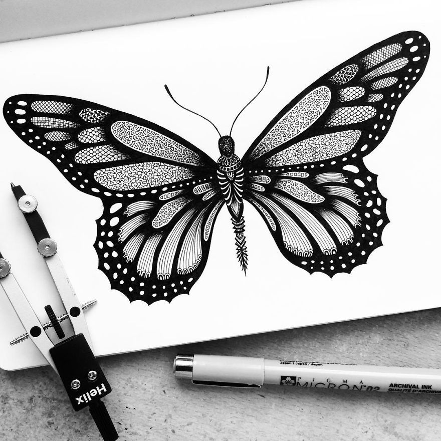 Black and White Detailed Drawing Art by Pavneet Sembhi