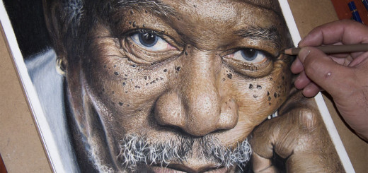 Super Detailed Drawing Of Morgan Freeman In Color Pencils
