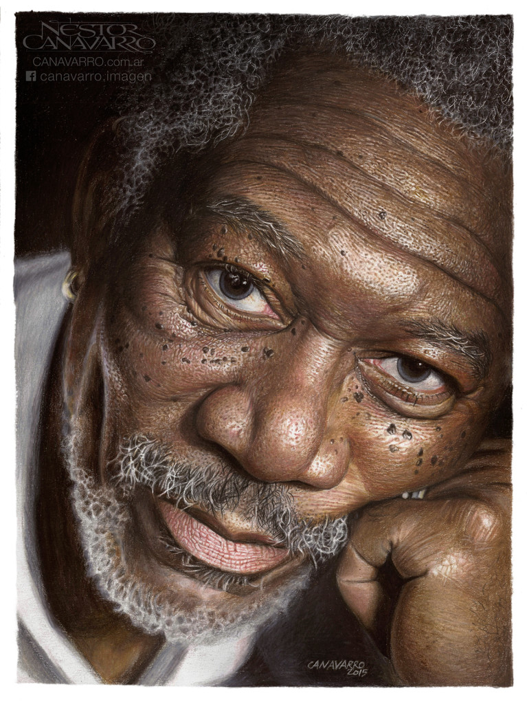Super Detailed Drawing Of Morgan Freeman In Color Pencils 767x1024 Super Detailed Drawing Of Morgan Freeman In Color Pencils
