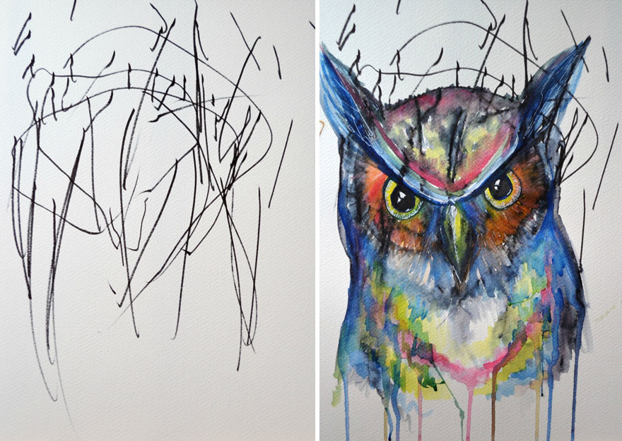 artist turns childrens drawings into paintings This Artist Her 2 Year Old's Sketches Into Gorgeous Watercolor Paintings