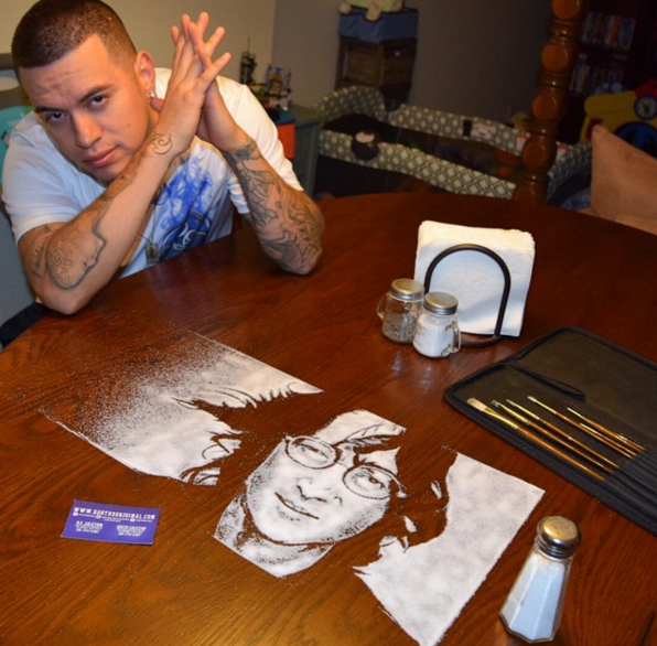 creative salf painting by Rob Ferrel 02 This Artist is Using Salf To Make Amazing Portraits of Celebrities