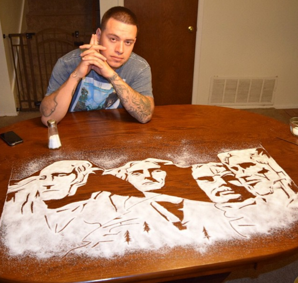 creative salf painting by Rob Ferrel 13 This Artist is Using Salf To Make Amazing Portraits of Celebrities