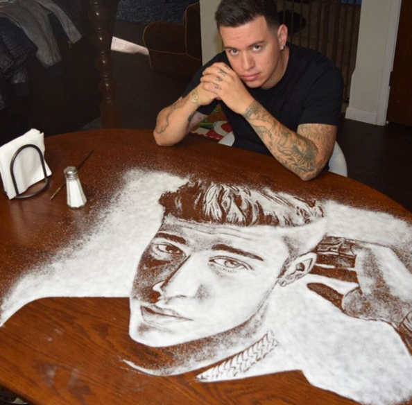creative salf painting by Rob Ferrel 14 This Artist is Using Salf To Make Amazing Portraits of Celebrities