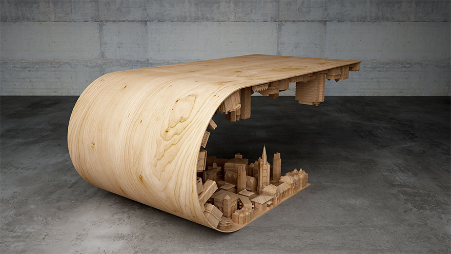 3D coffee table design Creative Artwork : Wave City Coffee Table