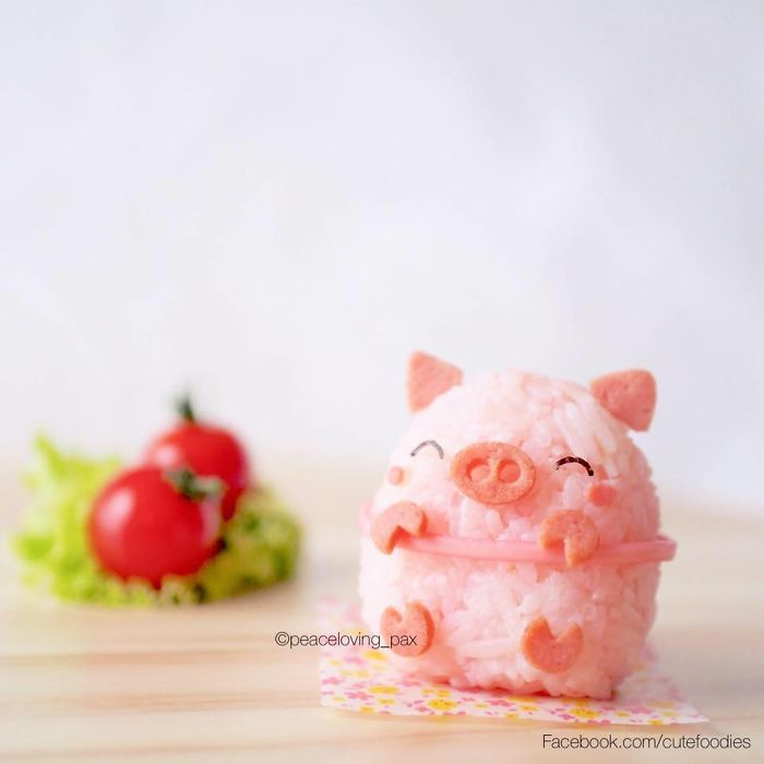Adorable Pink Piggy Rice Balls I Make Adorable Rice Balls During My Free Time