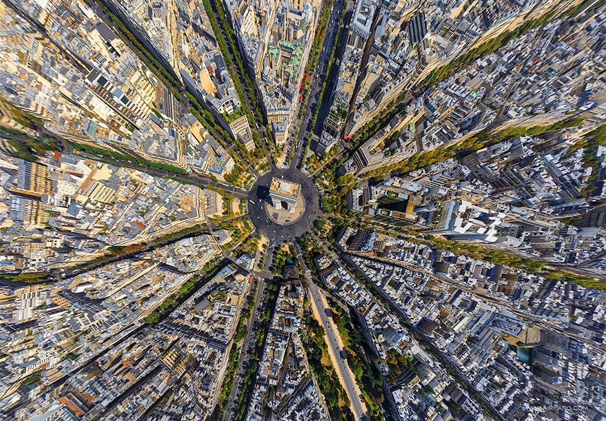 Aerial Photography of Arc de triomphe paris france Russian Photographers Show How Birds See Our World And It'll Leave You Breathless