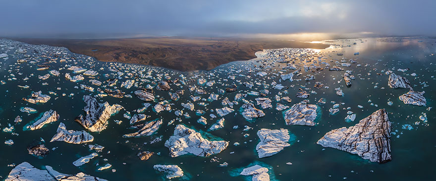 Aerial Photography of Jokulsarlon Glacial Lagoon Iceland Russian Photographers Show How Birds See Our World And It'll Leave You Breathless
