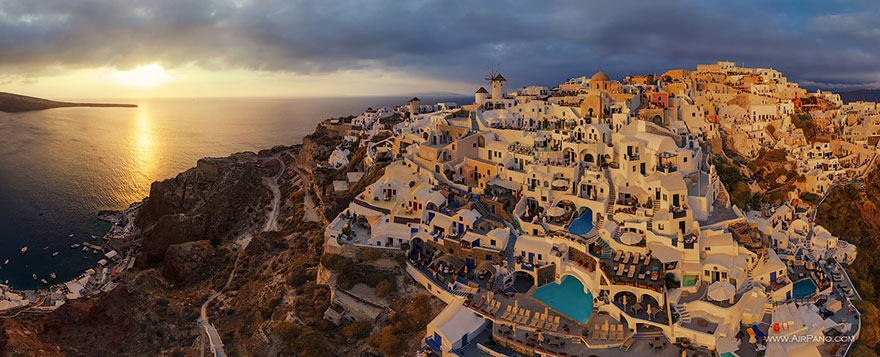 Aerial Photography of Santorini thira Oia Greece Russian Photographers Show How Birds See Our World And It'll Leave You Breathless