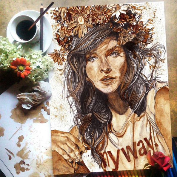 Beautiful and Stunning Coffee Stain Painting By Nuriamarq 1 Stunning Coffee Stain Painting By Nuriamarq