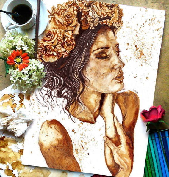 Beautiful and Stunning Coffee Stain Painting By Nuriamarq Stunning Coffee Stain Painting By Nuriamarq