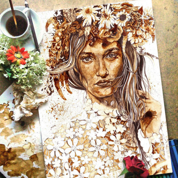 Coffee Stain Painting Art By Nuriamarq 2 Stunning Coffee Stain Painting By Nuriamarq