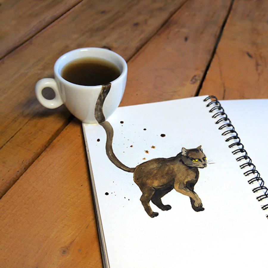 Coffee Stains Art by Elena Efremova 14 Creative Cute Cat Illustration With Coffee Stains by Elena Efremova