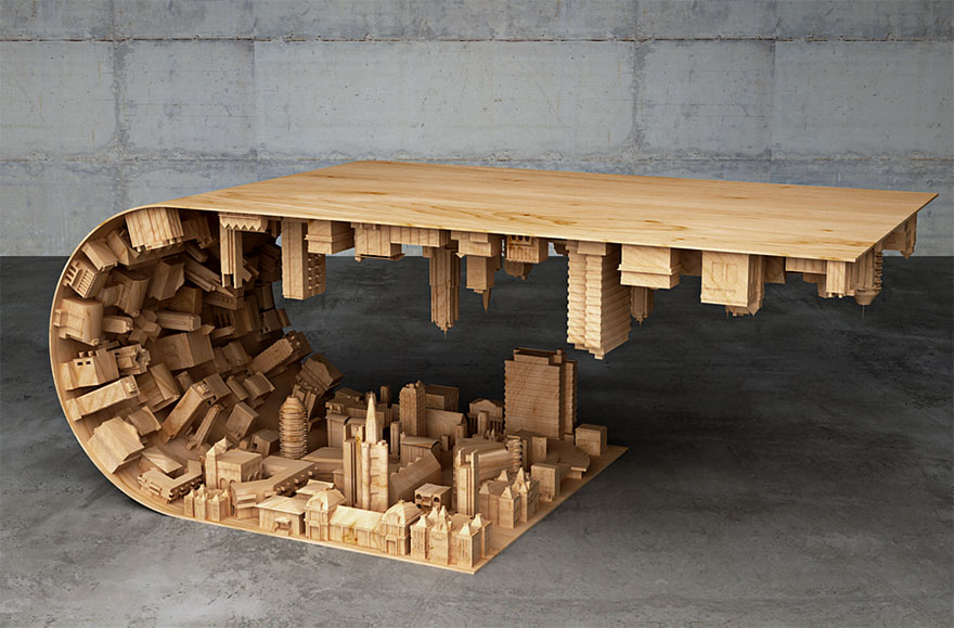 Creative Artwork Wave City Coffee Table By Stelios Mausaris 02 Creative Artwork : Wave City Coffee Table