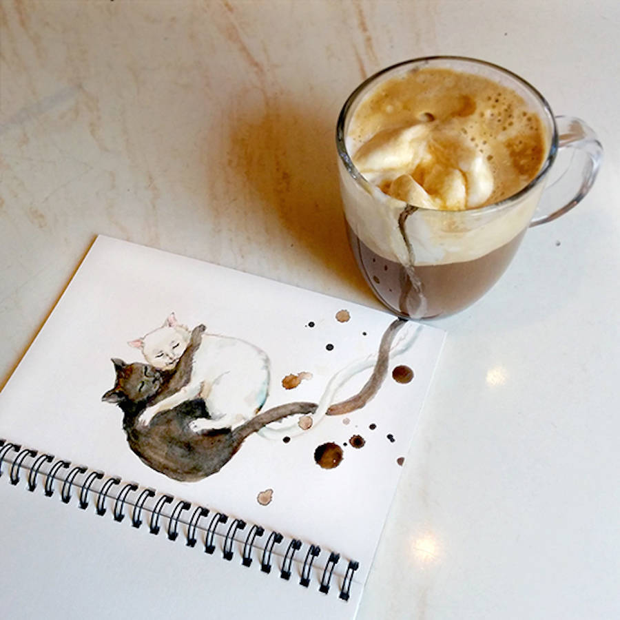 Creative Coffee Stains Illustration by Elena Efremova Creative Cute Cat Illustration With Coffee Stains by Elena Efremova