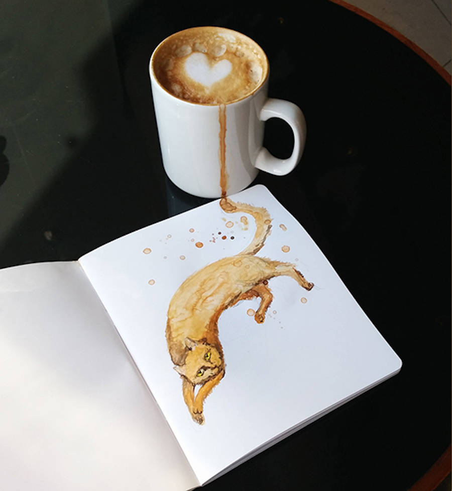 Creative Cute Cat Illustration With Coffee Stain by Elena Efremova Creative Cute Cat Illustration With Coffee Stains by Elena Efremova