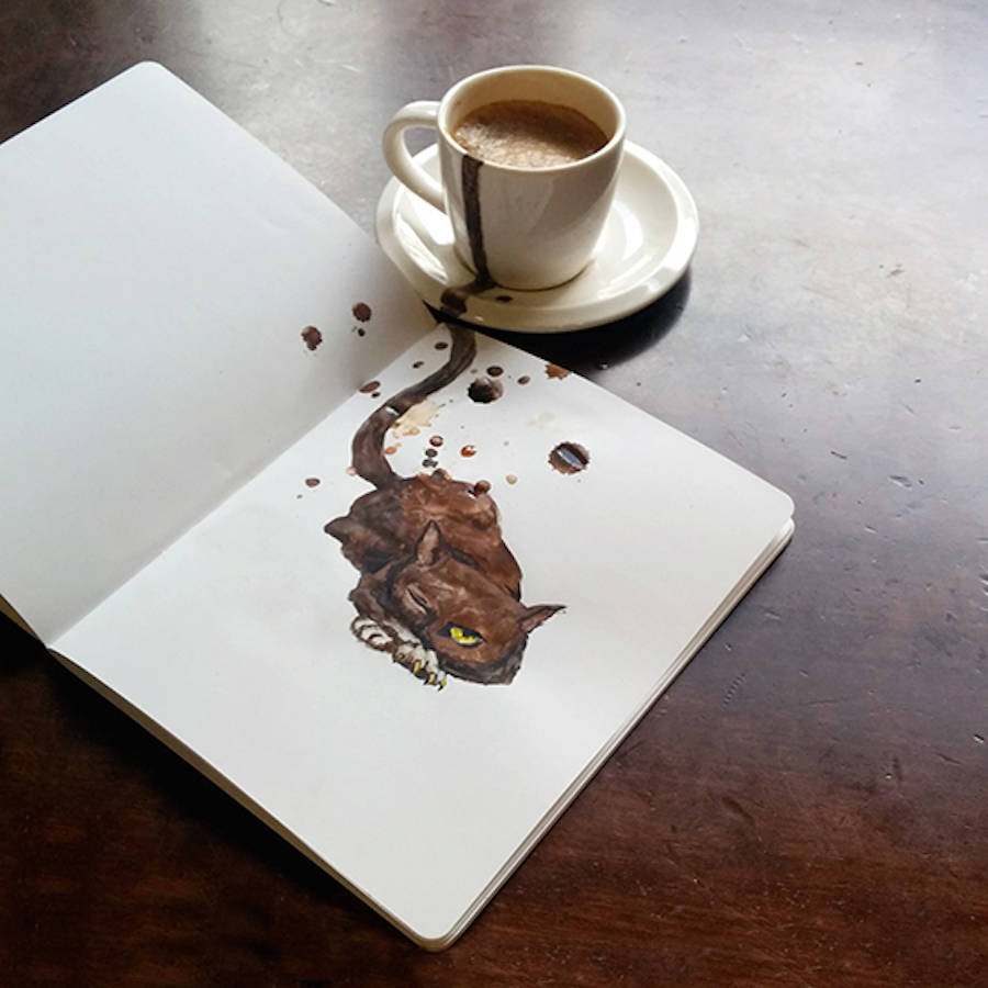 Creative Cute Cat Illustration With Coffee by Elena Efremova 32 Creative Cute Cat Illustration With Coffee Stains by Elena Efremova