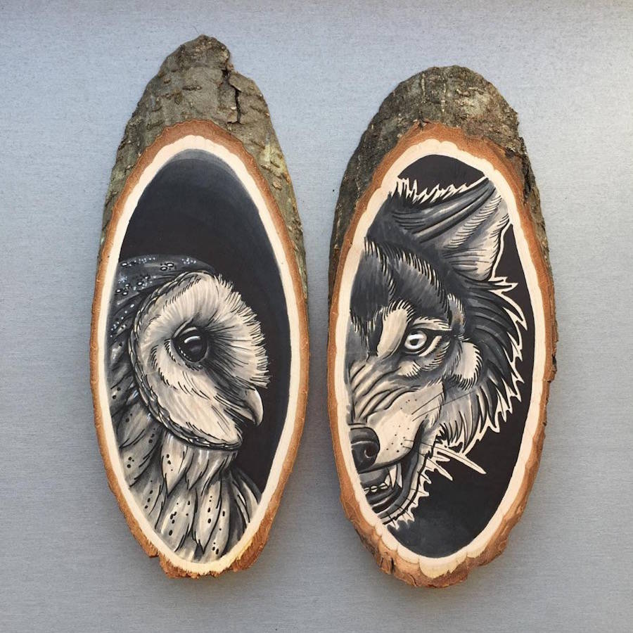 Creative Painting Art on Unique Media Stunning Paintings of Animals on Wood Slices