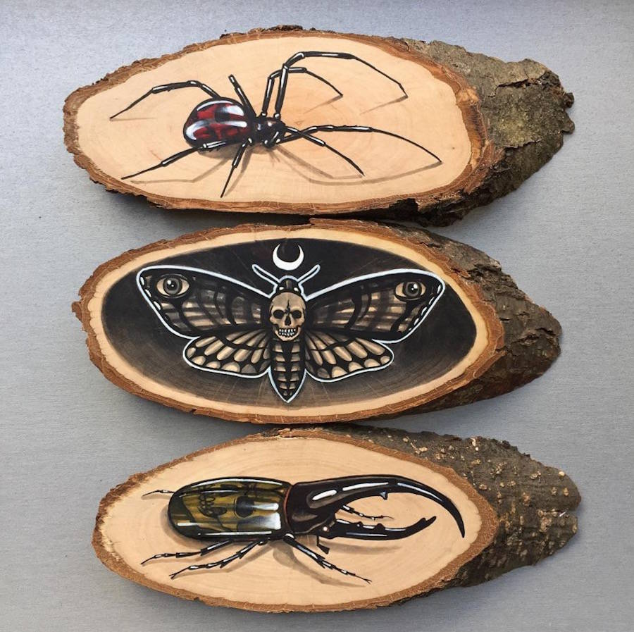 Creative Painting Art on Wood Slices 07 Stunning Paintings of Animals on Wood Slices