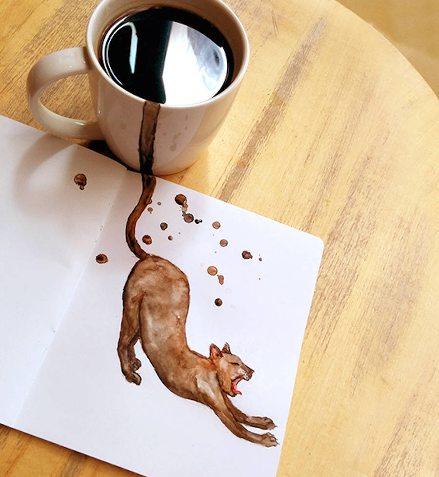 Cute Cat Illustration With Coffee by Elena Efremova Creative Cute Cat Illustration With Coffee Stains by Elena Efremova