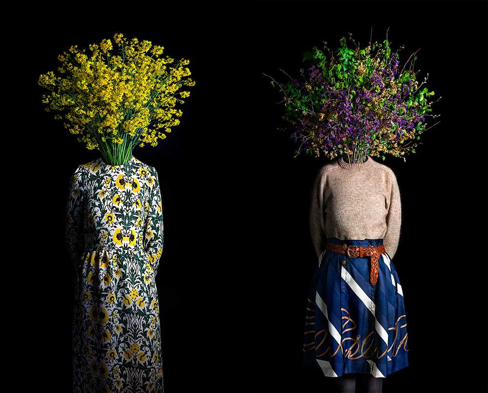 Flower Dressed in Contemporary Outfits by Miguel Vallinas 03