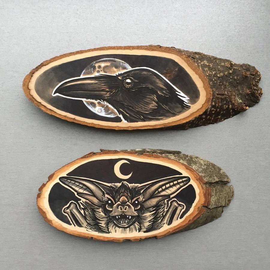 Painting Art on Wood 9 Stunning Paintings of Animals on Wood Slices