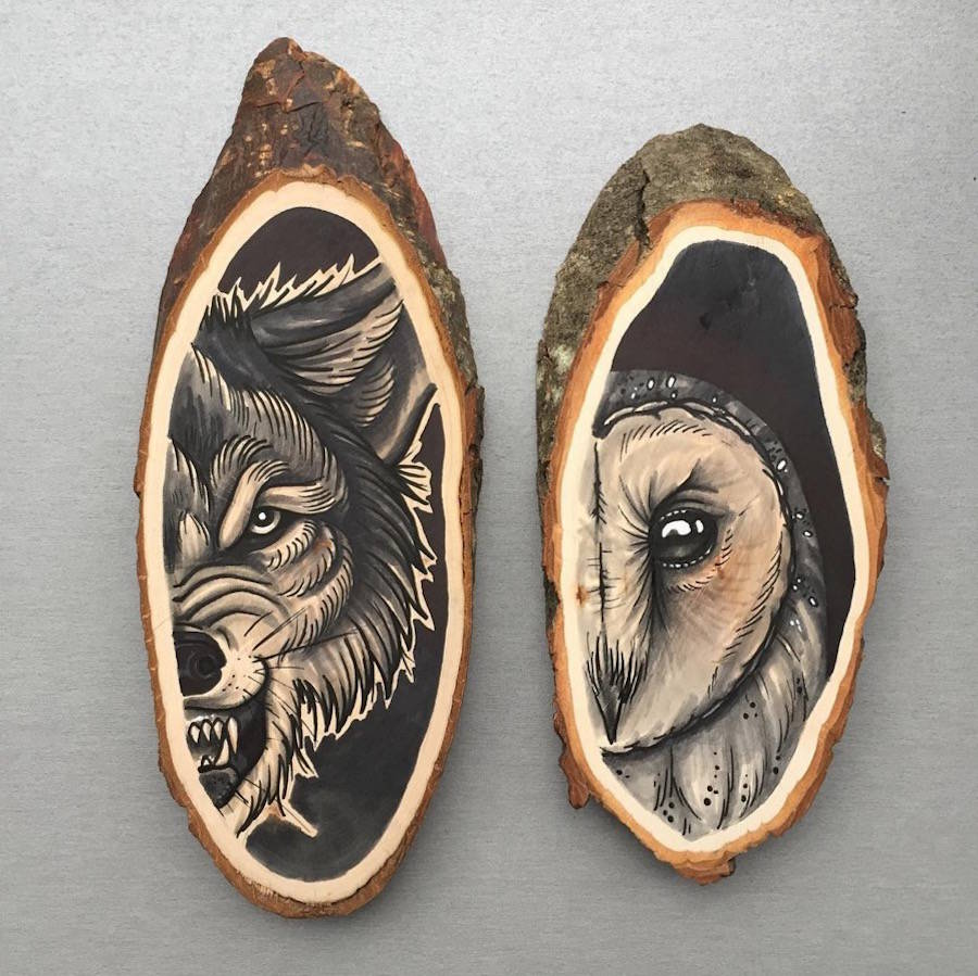 Paintings of Animals on Wood Slices 01 Stunning Paintings of Animals on Wood Slices