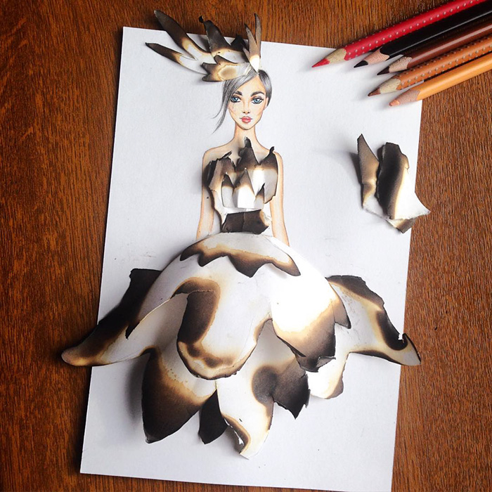 Paper cutout art fashion dresses Creative Fashion Designs With Everyday Objects by Armenian Artist Edgar