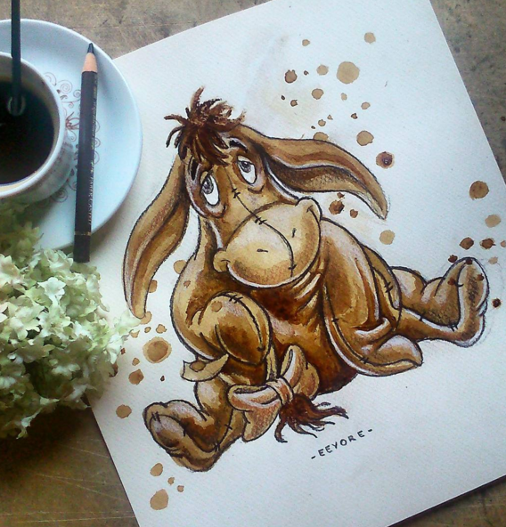 Stunning Coffee Stain Painting By Nuriamarq 3 Stunning Coffee Stain Painting By Nuriamarq