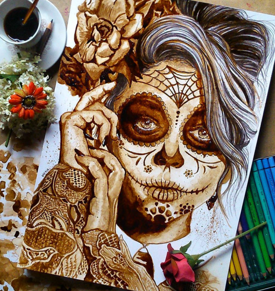 Stunning Coffee Stain Painting By Nuriamarq Stunning Coffee Stain Painting By Nuriamarq