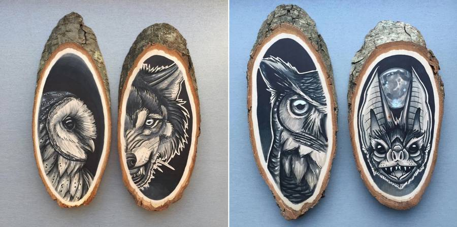 Stunning Paintings of Animals on Wood Slices 3 Stunning Paintings of Animals on Wood Slices