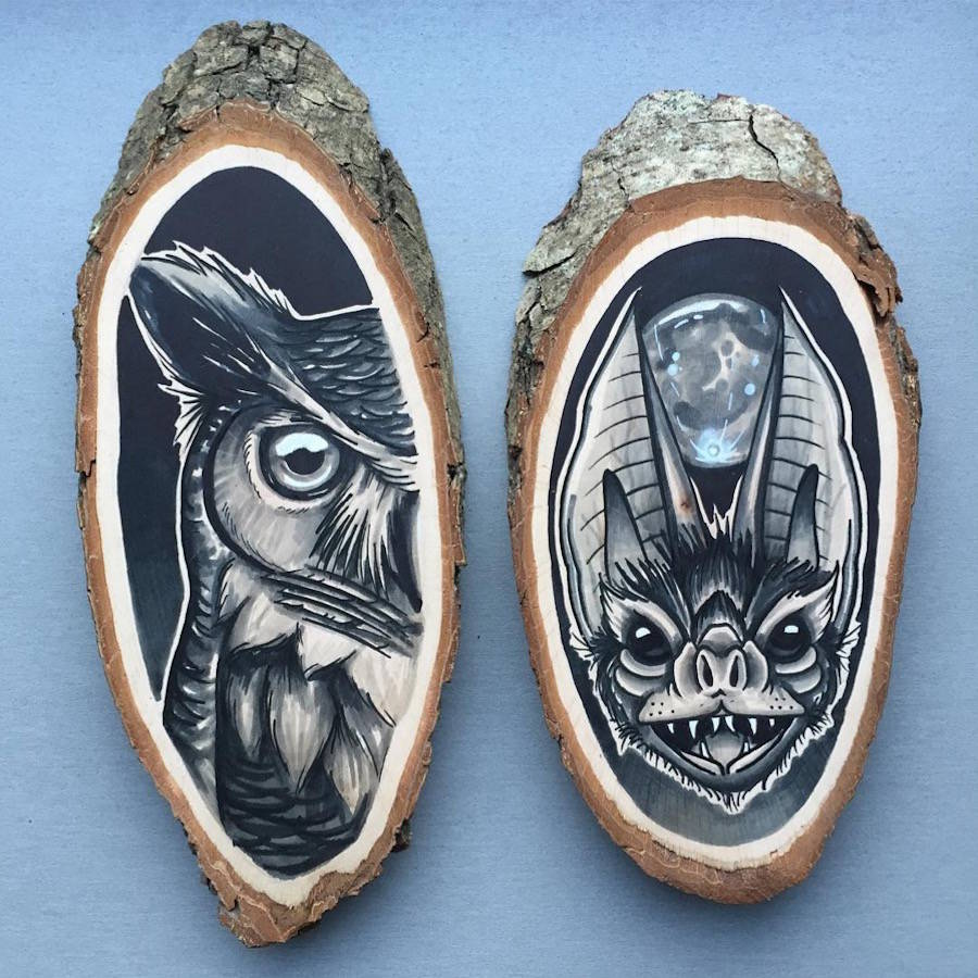 Wonderful Paintings of Animals on Wood Slices 01 Stunning Paintings of Animals on Wood Slices